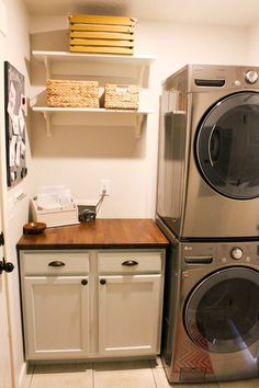 small laundry room with stackable washer and dryer - hope there's enough room to do something similar