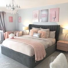 75 Awesome Gray Bedroom Ideas will Inspire You Crafome Grey Bedroom Decor, Bedroom Decor For Teen Girls, Cute Bedroom Ideas, Room Ideas Bedroom, Stylish Bedroom, Small Room Bedroom, Bedroom Inspiration, Teen Bedrooms, Master Bedroom