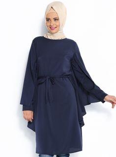 Pelerin Görünümlü Tunik - Lacivert - Topless Pelerin Görünümlü Tunik Modelleri  http://www.tesetturone.com/urun-kategori/tunik/ #tesettur #hijab #giyim #moda #kadın #tesettürgiyim
