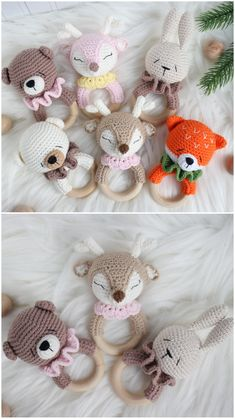 Gift ideas for baby shower basket and Expecting mom, First educational toy Rattle fox, rattle bear, rattle deer, rattle bunny Crochet Baby Toys, Crochet Toys Patterns, Amigurumi Patterns, Crochet Animals, Crochet Dolls, Baby Knitting, Handmade Baby, Handmade Toys, Baby Shower Baskets