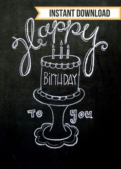Happy Birthday Sign Discover Items similar to Birthday Chalkboard poster on Etsy Happy Birthday to You! Surprise your loved one on their birthday with this fun birthday chalkboard print! This isnt digitally done its Chalkboard Doodles, Blackboard Art, Kitchen Chalkboard, Chalkboard Decor, Chalkboard Drawings, Chalkboard Lettering, Chalkboard Poster, Chalkboard Designs, Ideas Party