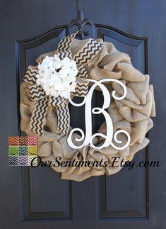 Hydrangeas Burlap Wreath