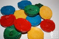 beeswax crayons--another option (try mixing 50% beeswax, 25% white soap, 25% soy wax, plus color