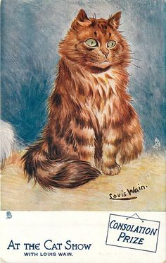 "Postcard by Louis Wain - ""AT THE CAT SHOW"", SERIES I"