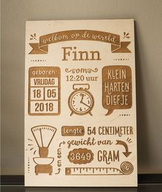 "Kraamcadeau met Naam: Houten geboorteposter ""Welkom op de Wereld"" Laser Cutter Ideas, Laser Cutter Projects, Cnc Projects, Baby Crafts, Diy And Crafts, Old Wood Signs, Laser Engraved Gifts, Gravure Laser, Little Barn"