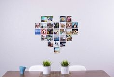 The print-from-phone app PostalPix posted about a cute heart-shaped wall piece made of photos of sweet memories. The template they sell doesn't require you to purchase photos through their app, so you could possibly use it with existing photos. 7 More Charming Valentine's Day DIY Decor Ideas (You Can Enjoy All Year)