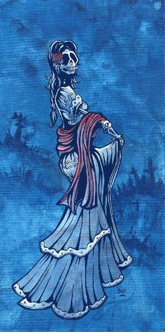 Dancing On Your Grave by David Lozeau Skeleton Woman Canvas Art Print
