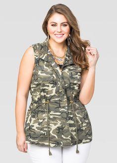Plus Size Camo Anorak Vest Plus Size Fashion acf895257