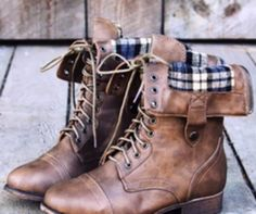 Mad About Plaid, fold over combat boots with a plaid inside ♥ love these! They go with most outfits . very versatile