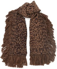 Alexander McQueen - Tasseled Wool And Silk-blend Jacquard Scarf - Leopard print