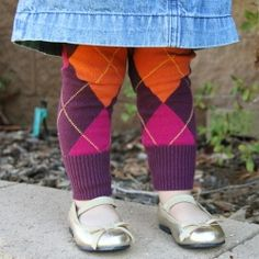 Turn an old sweater into cozy leggings for your little one. Super fast project!