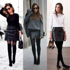 Saia curta: look de inverno 2019 · Anatomia de uma leitora Rock Outfits, Skirt Outfits, Stylish Outfits, Work Fashion, Fashion Outfits, Womens Fashion, Rocker Look, Corporate Attire, Casual Looks