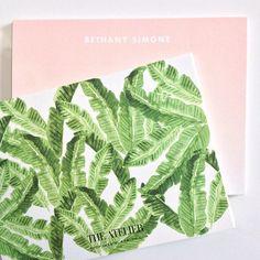 Palm leaf print  ombré note cards