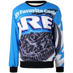 Blue Ladies Pullover Crew Neck Oreo Cookies Printed Sweatshirt ($18) ❤ liked on Polyvore featuring tops, hoodies, sweatshirts, shirts, sweaters, blue, crew-neck shirts, pullover tops, crew shirt and crew top