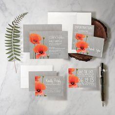 Poppy Wedding Invitation Set/Suite by InvitationSnob on Etsy