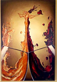 """SIGNED WINE ART Giclee Handpainted Texture Textured Love Romance Kissing Couple Red White Gold Streched Canvas Dancing Romantic Sexy 20x30"""" by ReikiandBeyondOrg on Etsy https://www.etsy.com/listing/190959454/signed-wine-art-giclee-handpainted"""