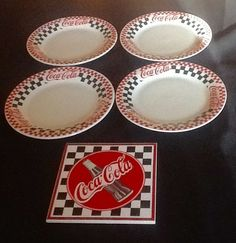 "4 Coca-Cola Coke Gibson Dishes Checkerboard Pattern 8"" Salad Plates + Trivet #COCACOLA"