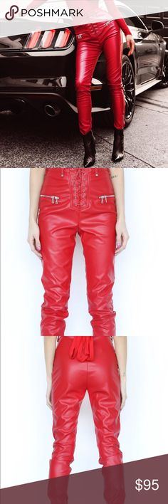 I am gia red leather pants Never worn amazing pants Pants