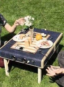 picnic table out of suitcase