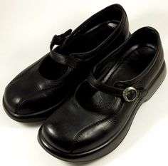 DANSKO Women's Shoes ~ Black Leather Floral Buckle Mary Janes ~ Euro 37, US 7.5 #Dansko #MaryJanes