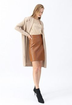 Classy Open Front Knit Coat in Light Tan - Retro, Indie and Unique Fashion Unique Fashion, Indie, Thick Sweaters, Knitted Coat, Pullover, Knit Dress, Fall Outfits, Work Outfits, Retro