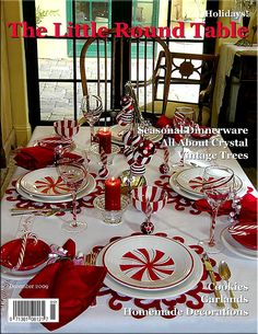 Pretty red & white peppermint tablescape