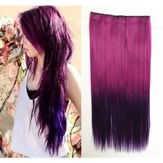 Fuchsia to Purple Two Colors Ombre Hair Extension Synthetic Hair... ($9) ❤ liked on Polyvore featuring beauty products, haircare, hair styling tools, bath & beauty, grey, hair care and hair extensions