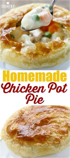 Homemade Chicken Pot Pie recipe from The Country Cook Homemade Chicken Pot Pie has the most delicious homemade, creamy filling with an easy puff pastry crust. A family favorite for generations! Dessert Simple, Homemade Chicken Pot Pie, Chicken Recipes, Chicken Pot Pie Recipe Puff Pastry, Pastry Recipe, Cashew Chicken, Chicken Meals, Homemade Soup, Chicken Fajitas