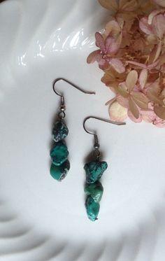 Turquoise Colored Stone Earrings...Dangle Earrings by 1840VintageLnJewelry on Etsy