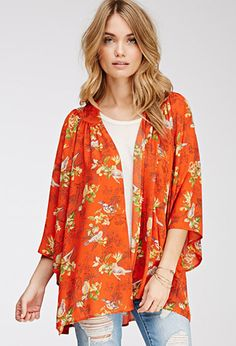 Orange bird print Kimono NWOT Just took tags off of this yesterday, never worn. Kimono Cardigan, Kimono Top, Bird Prints, Spring Collection, Get Dressed, Spring Fashion, Style Me, Latest Trends, Cute Outfits