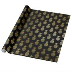 Glam Tropical Faux Gold Pineapple On Black Wrapping Paper.  #wrappingpaper #tropicalwrappingpaper #pineapplewrappingpaper
