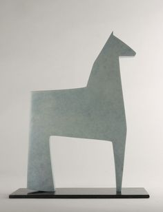 #Cast #bronze #sculpture by #sculptor Stephen Page titled: 'White Horse (Minimalist Small Contemporary statuette)'. #StephenPage