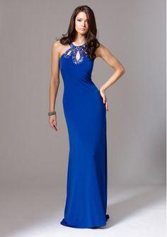 Sheath Blue Evening Dress