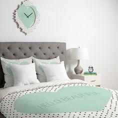 Allyson Johnson Hello Beautiful Heart Duvet Cover #mint #home #decor NEED THIS