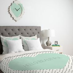 Allyson Johnson Hello Beautiful Heart Duvet Cover #mint #home #decor NEED THIS