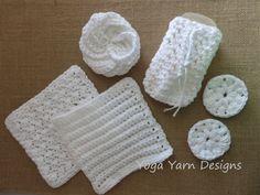 Spa Bath Set Cotton Spa Bath Set Crochet Spa by YogaYarnDesigns
