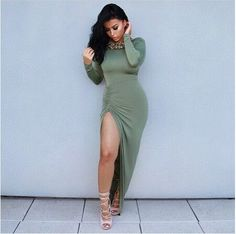 Women's Long Sleeve Backless Side Slit Dress