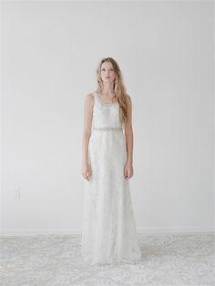 Simple lace sheath wedding dress