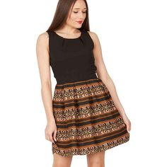 Brown Aztec print fit and flare dress