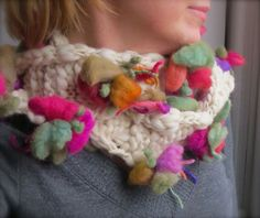 Blooming Wool Scarf in Cream Colorful Flowers by TheWildWillows, $73.00