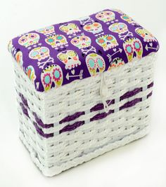 Sewing Basket-Extra Small Purple Skull Print