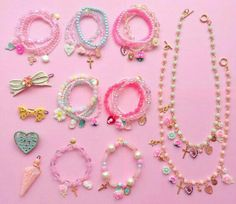 Find images and videos about fashion, pink and kawaii on We Heart It - the app to get lost in what you love. Kids Jewelry, Cute Jewelry, Beaded Jewelry, Jewelry Making, Jewellery, Kawaii Accessories, Diy Hair Accessories, Fashion Accessories, Diy Kawaii Jewelry