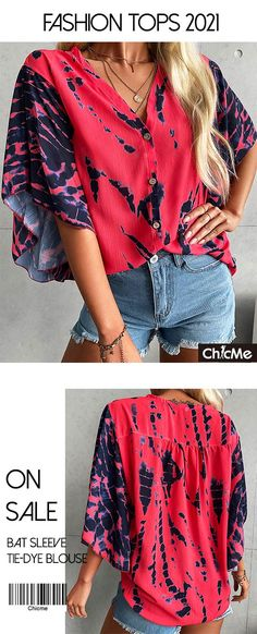 Bat Sleeve Tie-dye Print Blouse Trendy Fashion, Fashion Outfits, Women's Fashion, Summer Outfits, Cute Outfits, Fashion Courses, Bat Sleeve, Lace Crop Tops, Elegant Outfit