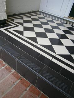 Victorian floor tiles gallery, Original Style floors, period floors - for front door step Hall Tiles, Tiled Hallway, Victorian Hallway Tiles, Edwardian Hallway, White Hallway, Tiles Uk, Front Door Steps, Front Door Porch, Front Porches