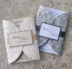 Embossed White Wedding Invite