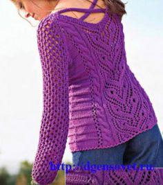 Ажурный пуловер с переплетениями на спине
