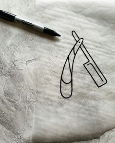 shaving barber straight razor tattoo flash sketch by nico di pisarro