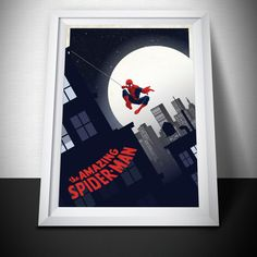 Spiderman Poster Print. Spiderman gift. Mounted Canvas Available. by LilRedDotDesigns on Etsy