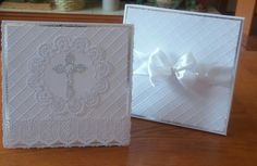 First Communion card for a special little girl. Card base made using Tonic Bowscale dies. Lacy topper is the Anne die from Tattered Lace and the border is the Elizabeth die also Tattered Lace.  The cross is a Hunkydory die.