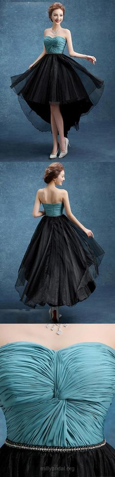 High Low Prom Dresses A-line, Sweetheart Party Dresses Black Chiffon, Organza Asymmetrical Formal Evening Gowns Criss Cross